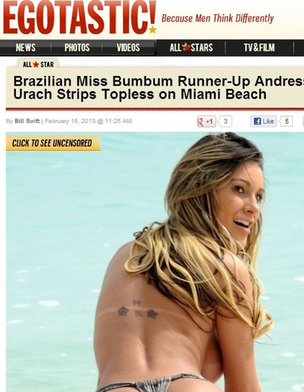 Andressa Urach faz topless em Miami e vira destaque em site internacional