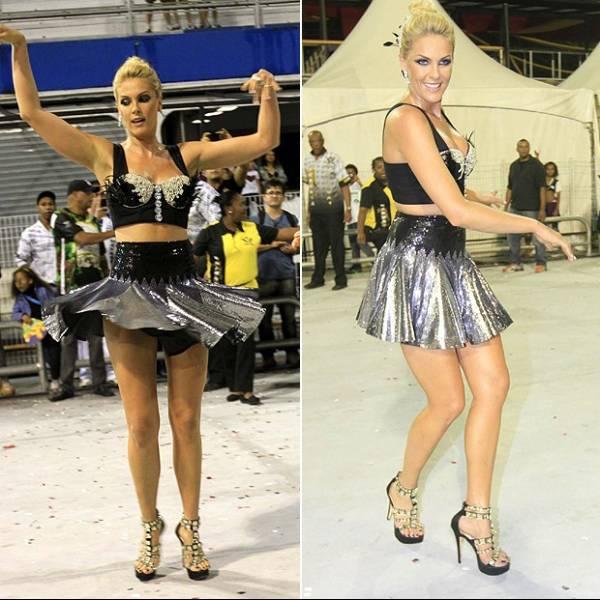 Com saia curta, Ana Hickmann faz a alegria dos fotógrafos em samba