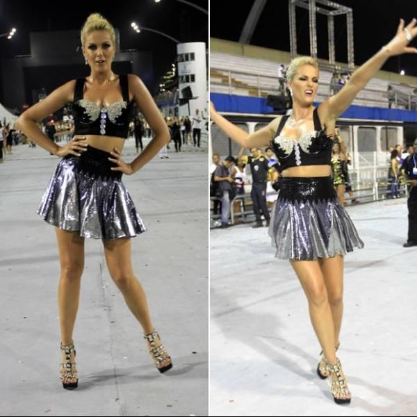 Saia curta trai Ana Hickmann durante ensaio de Carnaval; fotos!