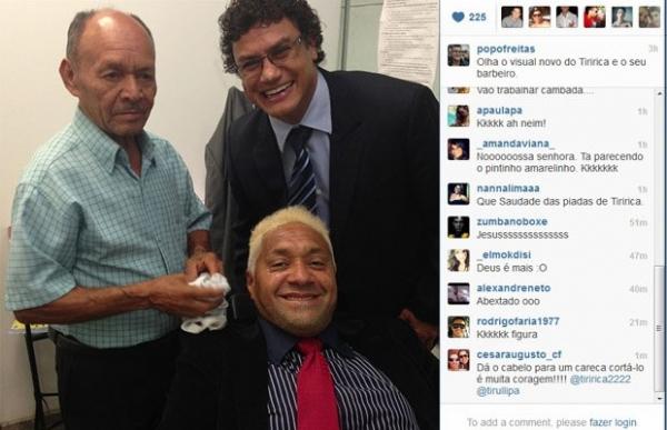 Deputado Tiririca pinta o cabelo de loiro e posta no Instagram