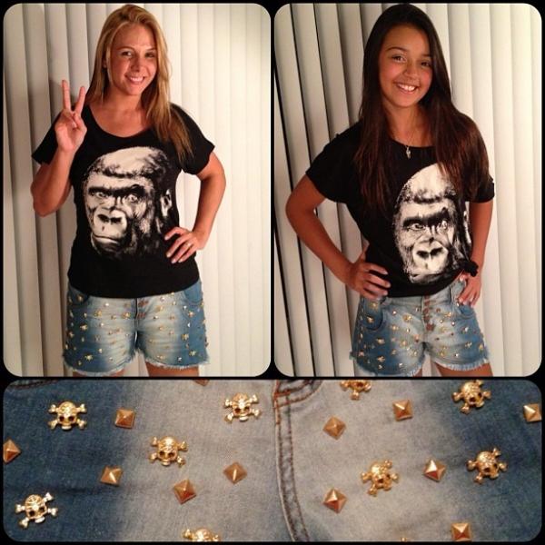Carla Perez e a filha Camilly Victória usam o mesmo look