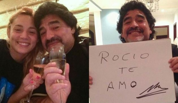 Maradona assume romance com craque 30 anos mais nova