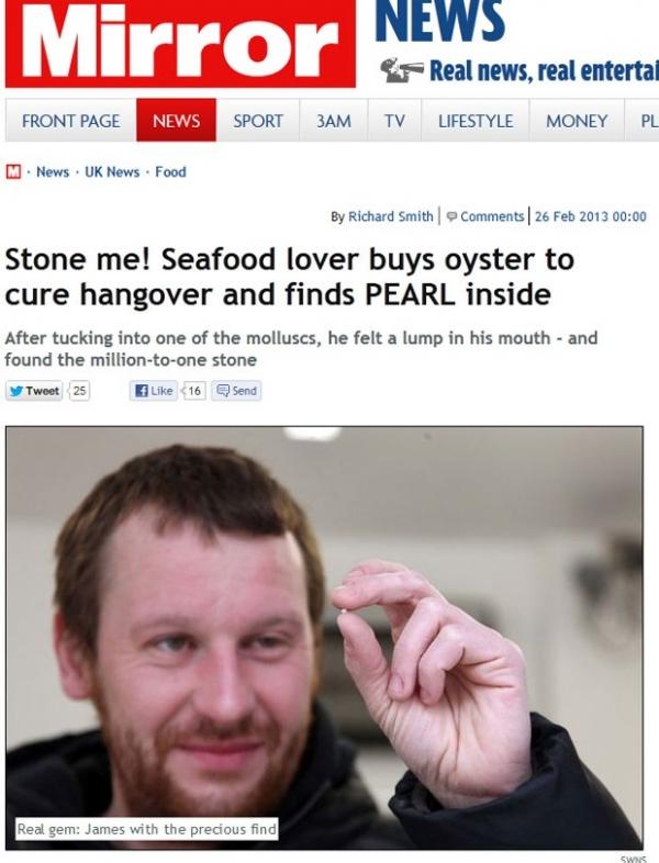 Jovem britânico compra ostra para curar