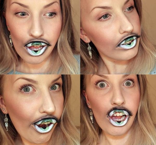 Artista cria maquiagem fantástica ao transformar boca em olho