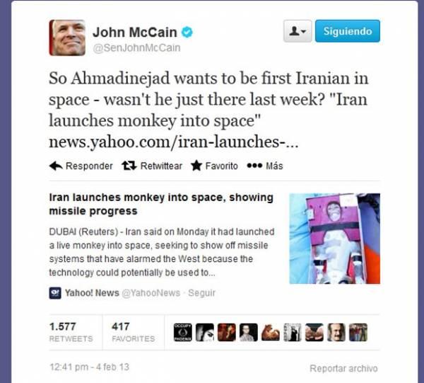 Senador dos EUA compara presidente do Irã a macaco
