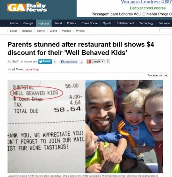 Casal ganha desconto de restaurante por bom comportamento dos filhos