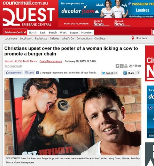 Rede de fast-food cria polêmica com anúncio de modelo lambendo vaca