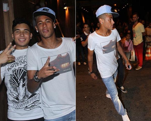 Sem Bruna Marquezine, Neymar curte jantar e festa com amigos