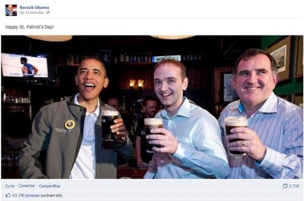 Barack Obama posta foto tomando cerveja e celebra São Patrício