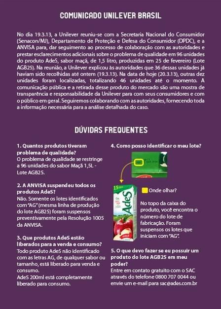 Unilever publica comunicado com esclarecimentos sobre AdeS no Facebook