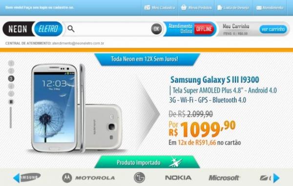 Neon Eletro oferece Galaxy S3 por R$ 1 mil e enfrenta reclamações de clientes