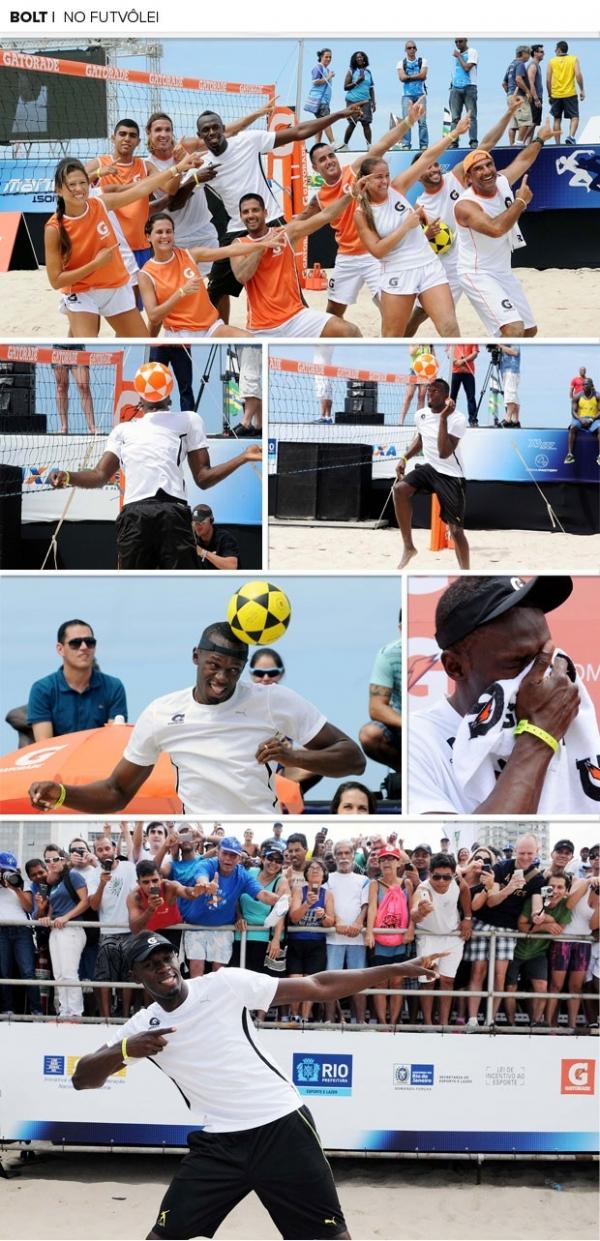 Fã de futebol, Bolt é apresentado ao futevôlei e dá primeiros passos