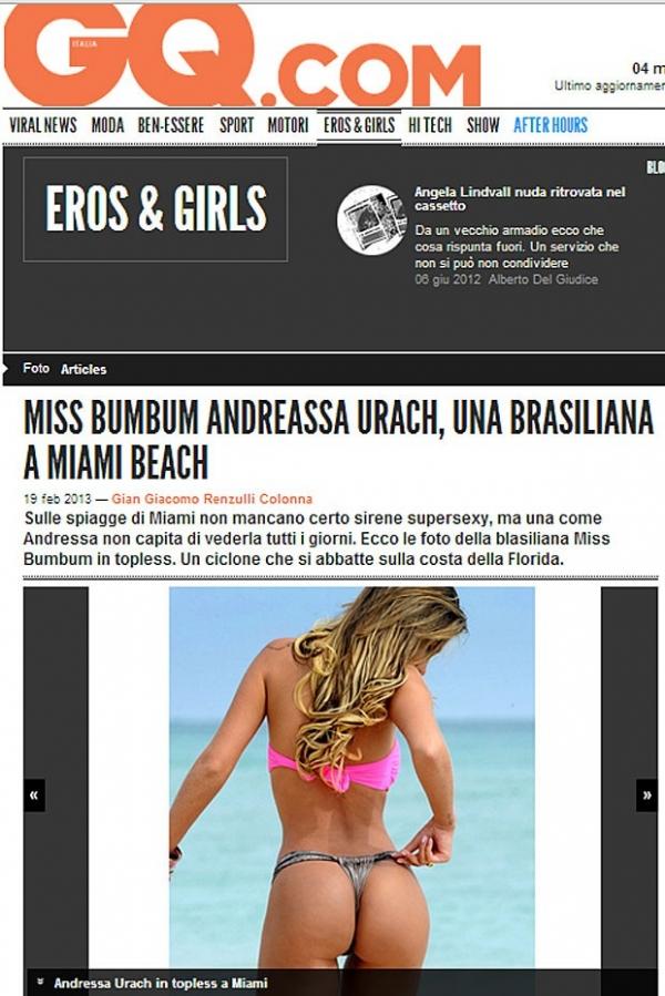 Fotos de Andressa Urach são destaque em badalada revista italiana