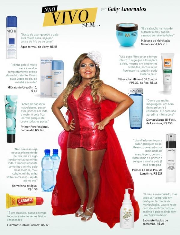 Hidratante, primer e até sabonete: Gaby Amarantos lista seu top 10