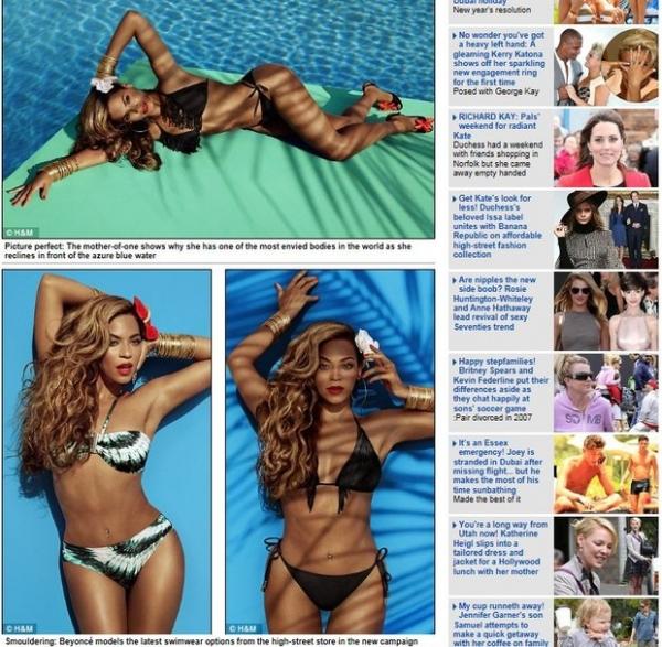 De biquíni, Beyoncé mostra boa forma em ensaio para campanha