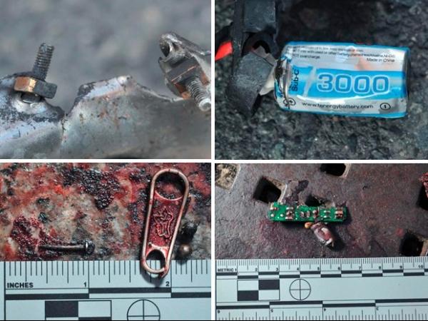 Imagens da polícia mostram objetos ligados a bombas feitas com panela, pólvora e estilhaços
