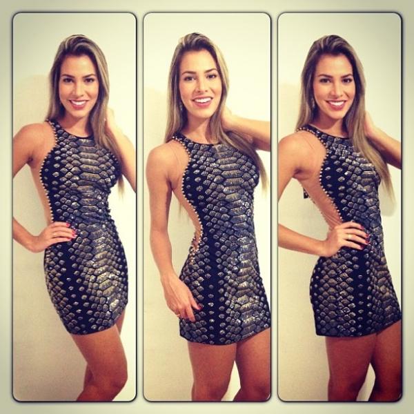 Ex-BBB Adriana dá dicas para sair com cintura e braços fininhos na foto