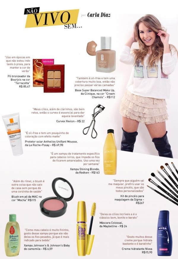 Carla Diaz revela produtos que lhe ajuda a ficar linda na noite