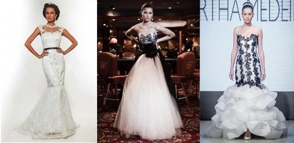 Vestido com detalhes em preto desponta como tendência para noivas