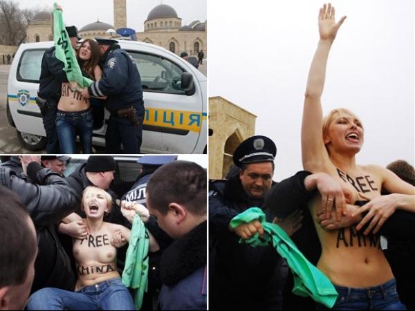 Em atos coordenados, feministas protestam de topless por muçulmana