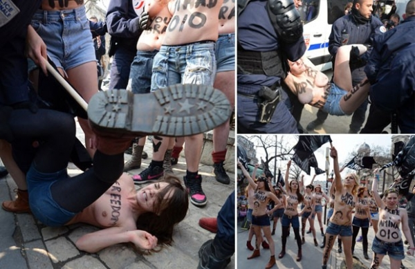 Feministas protestam de topless por jovem ameaçada de morte