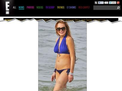De biquíni, Lindsay Lohan exibe hematomas nas pernas