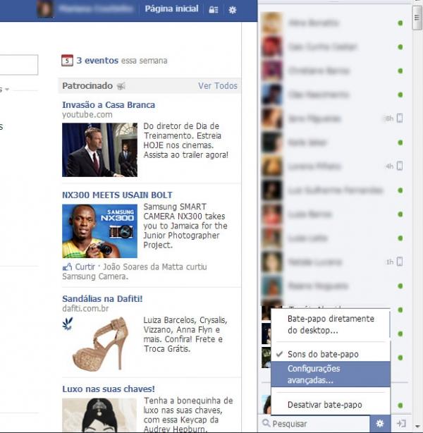 Como alterar a lista de bate-papo no Facebook