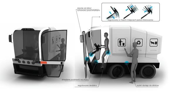 Conceito de caminhão de lixo elétrico é compacto e multifuncional