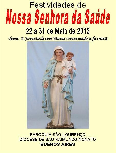 Começa hoje a novena de Nossa Senhora da Saúde em Buenos Aires, São Lourenço do Piauí