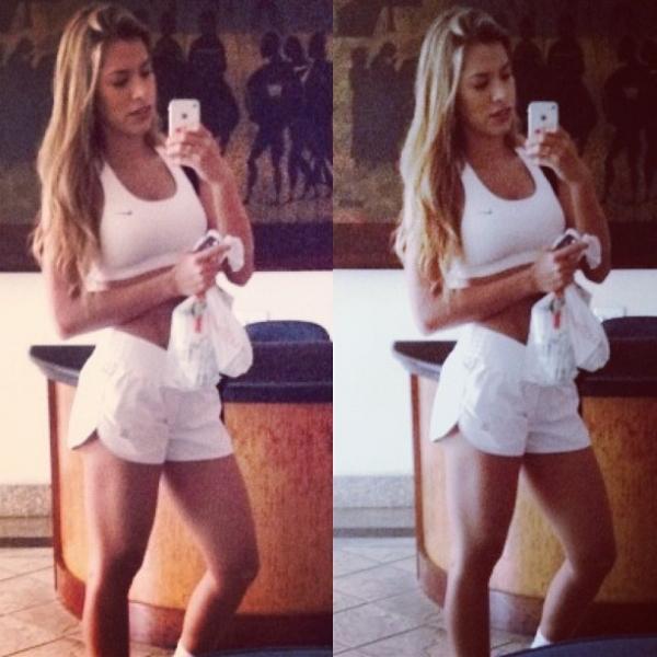 De short e top branco, Adriana mostra a boa forma após treino; amplie