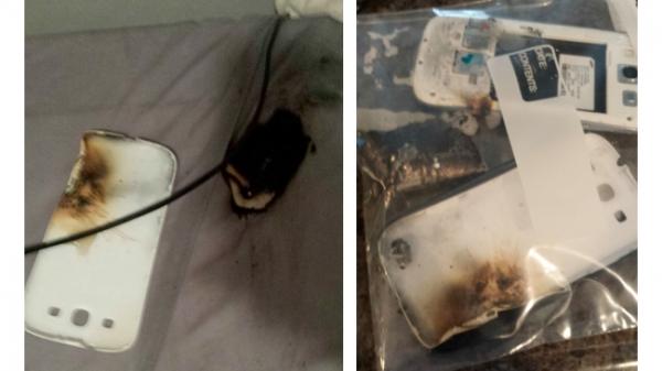 Explodiu! Galaxy S3 pega fogo de madrugada e  deixa usuário queimado