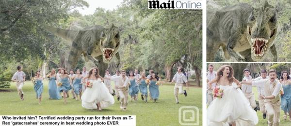 Fotógrafo registra noivos fugindo de tiranossauro e foto vira hit na web
