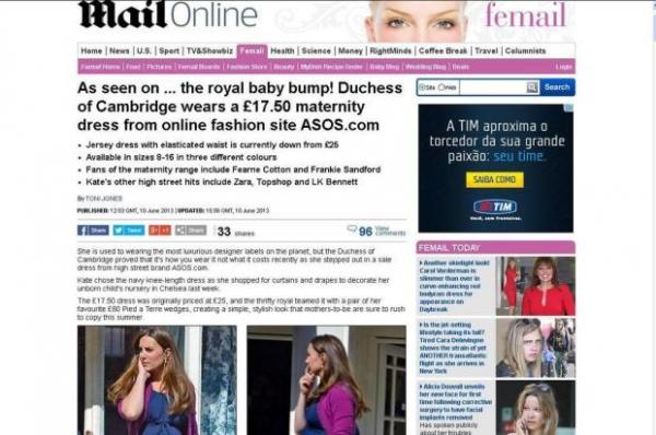 Duquesa Kate Middleton usa vestido de liquidação estimado em 30 dólares