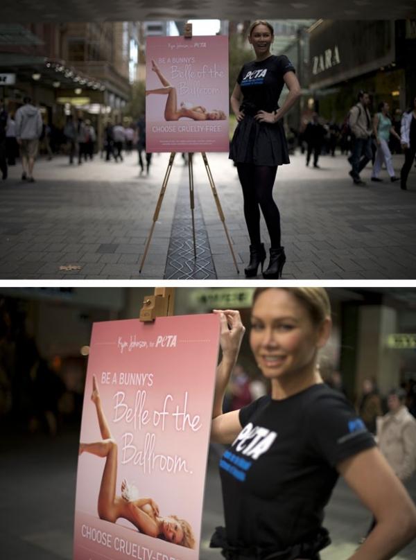 Em defesa dos animais, dançarina monta placa com foto nua em Sydney