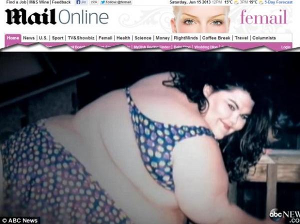 Mulher com 227 kg posa para sites