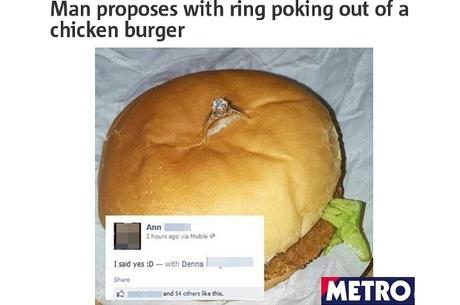 Pedido de casamento traz anel cravado em sanduba
