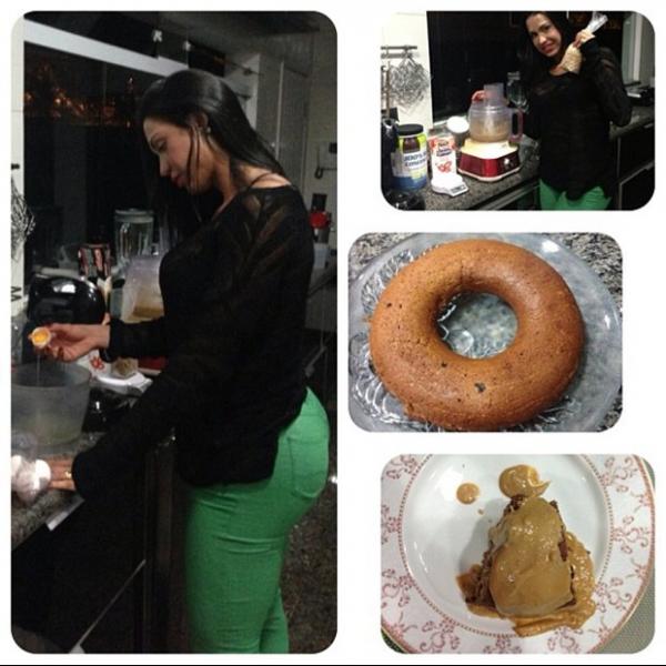Após malhação, Gracyanne vai para cozinha fazer bolo