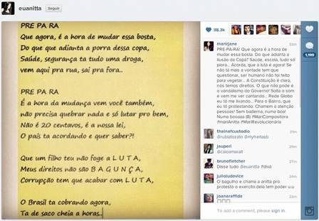 MC Anitta entra no clima das manifestações e cria música de protesto