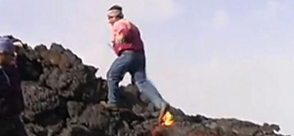 Vídeo de homem andando sobre lava intriga internautas no YouTube