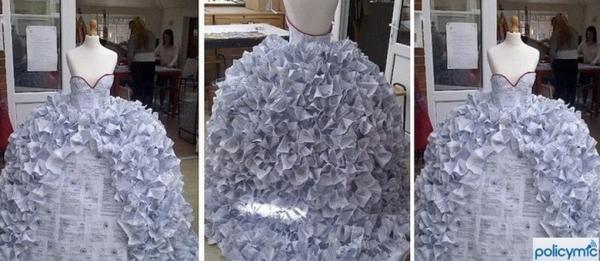 Estudante cria vestido de noiva feito com papéis de divórcio