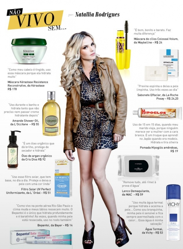 Natallia Rodrigues revela seus produtos de beleza preferidos