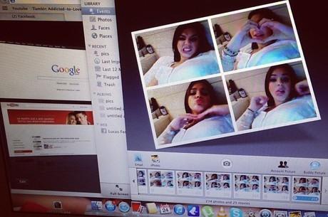 Bruna Marquezine invade o computador de amiga para tirar fotos