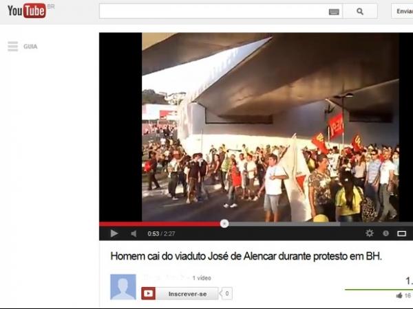 Vídeo mostra queda de pessoa de viaduto durante manifestação