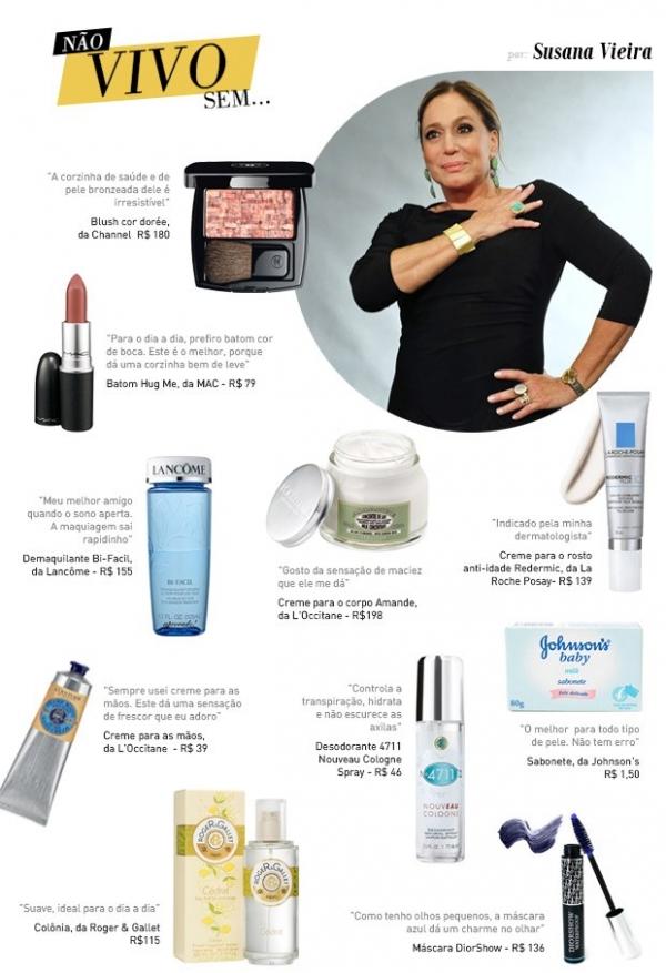 Perfume, maquiagem e hidratante! Susana Vieira lista produtos top 10