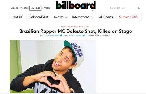 Morte de MC Daleste estampa jornais internacionais e levanta violência no Brasil