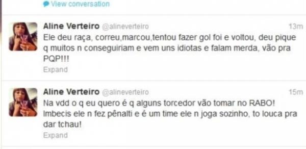 Mulher de Wellington perde a linha e xinga torcedores do São Paulo no Twitter