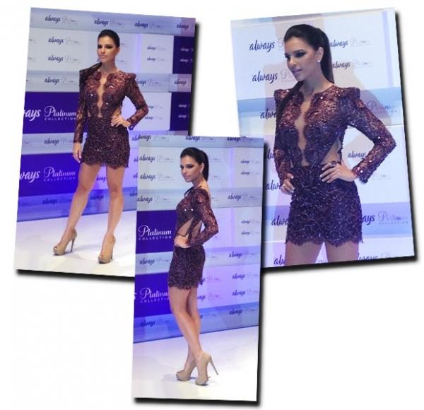 Mariana Rios desfila com look sexy em evento