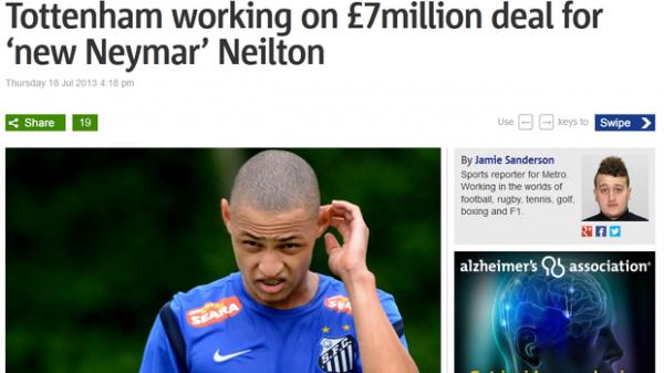 Imprensa inglesa divulga interesse de Tottenham em Neilton: