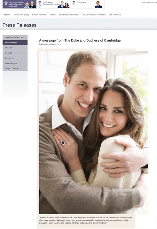 Kate Middleton e Príncipe William agradecem hospital em comunicado
