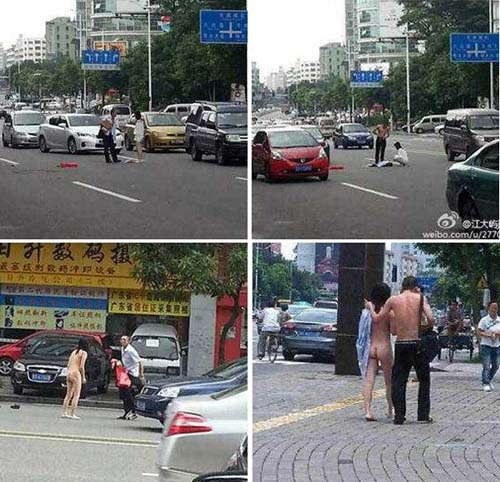 Casal tira a roupa e mulher fica nua durante briga na China